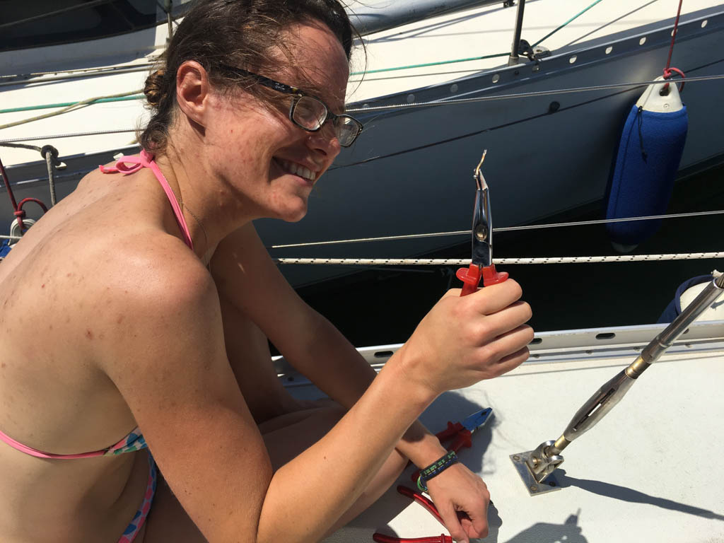 Angie proud of her first repair: extracting and replacing a damaged split pin from one of the port shrouds.
